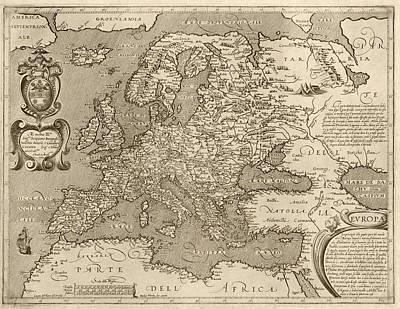 Antique Map Of Europe By Arnoldo Di Arnoldi - Circa 1600 Poster