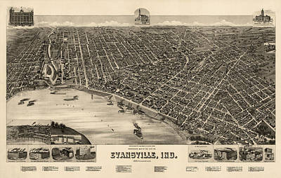 Antique Map Of Evansville Indiana By H. Wellge - 1888 Poster