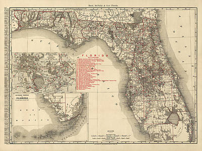 Antique Map Of Florida By Rand Mcnally And Company - 1900 Poster by Blue Monocle