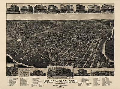 Antique Map Of Fort Worth Texas By H. Wellge - 1886 Poster