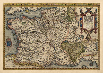 Antique Map Of France By Abraham Ortelius - 1570 Poster