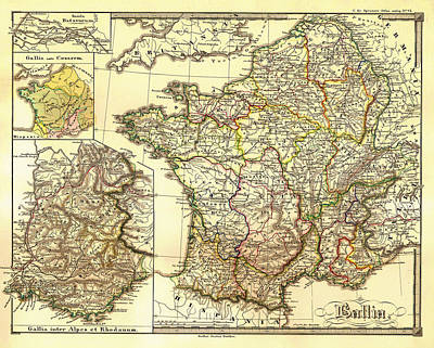 Antique Map Of France Gaul And Gallia In Ancient Times  Poster