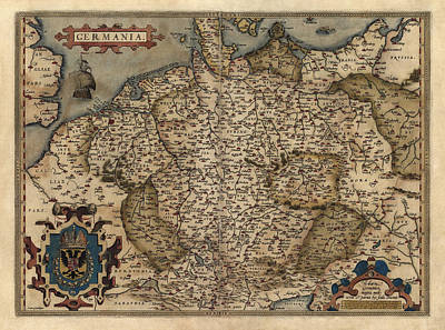 Antique Map Of Germany By Abraham Ortelius - 1570 Poster by Blue Monocle