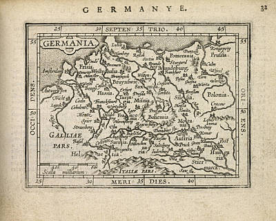 Antique Map Of Germany By Abraham Ortelius - 1603 Poster by Blue Monocle