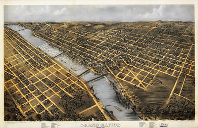 Antique Map Of Grand Rapids Michigan 1868 Poster by Mountain Dreams