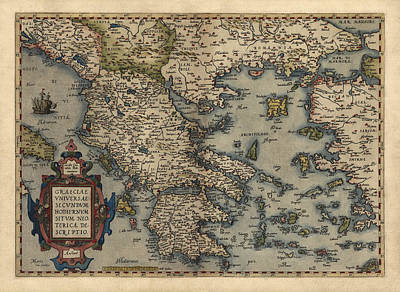 Antique Map Of Greece By Abraham Ortelius - 1570 Poster by Blue Monocle