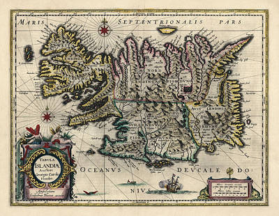 Poster featuring the drawing Antique Map Of Iceland By Willem Janszoon Blaeu - 1647 by Blue Monocle