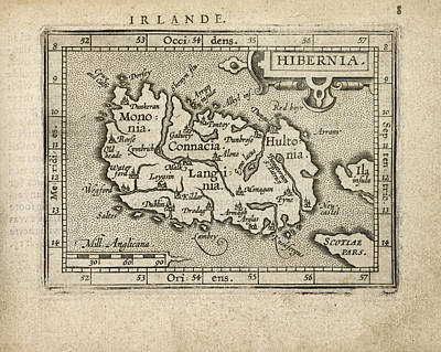 Antique Map Of Ireland By Abraham Ortelius - 1603 Poster by Blue Monocle