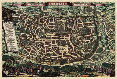 Antique Map Of Jerusalem By Nicolaes Visscher - Circa 1660 Poster
