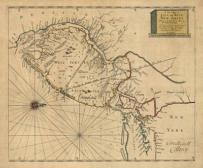 Antique Map Of New Jersey By John Worlidge - 1706 Poster