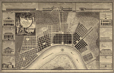 Antique Map Of New Orleans By I. Tanesse - 1817 Poster