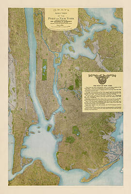 Antique Map Of New York City By C. P. Gray - 1913 Poster by Blue Monocle