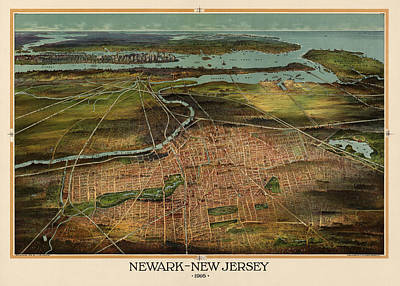 Antique Map Of Newark New Jersey By T. J. Shepherd Landis - 1916 Poster by Blue Monocle