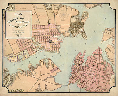 Antique Map Of Norfolk And Portsmouth Virginia By Charles E. Cassell - 1861 Poster by Blue Monocle