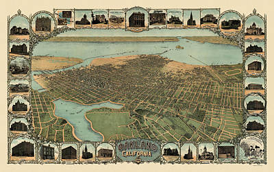 Antique Map Of Oakland California By Fred Soderberg - 1900 Poster by Blue Monocle