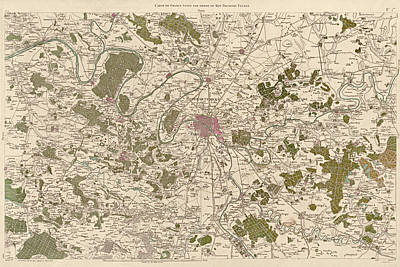 Antique Map Of Paris France By Cesar-francois Cassini - 1789 Poster by Blue Monocle