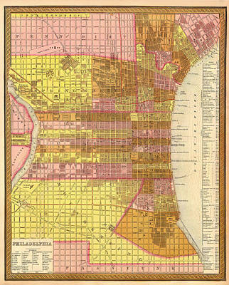 Antique Map Of Philadelphia 1846 Poster by Mountain Dreams