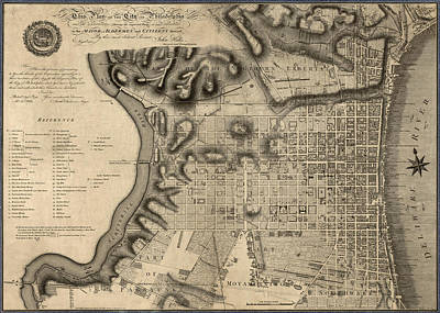 Antique Map Of Philadelphia By John Hills - 1797 Poster by Blue Monocle