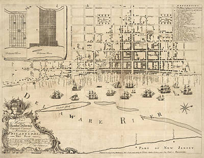 Antique Map Of Philadelphia By Nicholas Scull - 1762 Poster by Blue Monocle