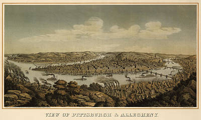 Antique Map Of Pittsburgh Pennsylvania By Otto Krebs - 1874 Poster by Blue Monocle
