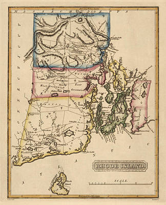 Antique Map Of Rhode Island By Fielding Lucas - Circa 1817 Poster by Blue Monocle