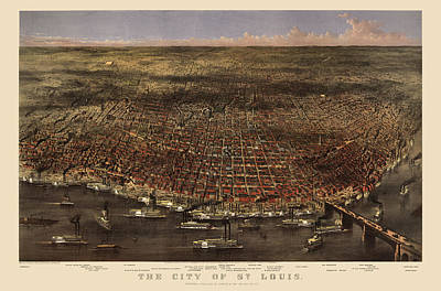 Antique Map Of Saint Louis By Currier And Ives - 1874 Poster by Blue Monocle