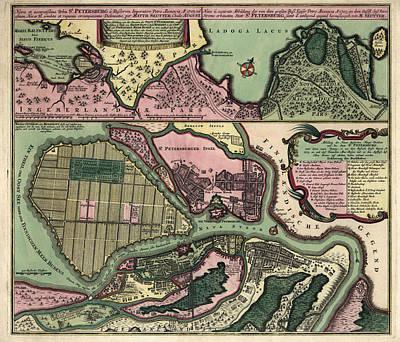 Antique Map Of Saint Petersburg Russia By Matthaeus Seutter - Circa 1734 Poster