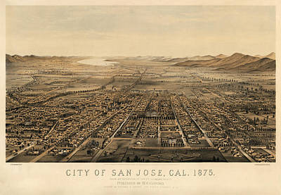 Antique Map Of San Jose California By Charles B. Gifford - 1875 Poster by Blue Monocle