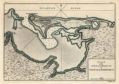 Antique Map Of San Juan Puerto Rico By Thomas Jefferys - 1768 Poster