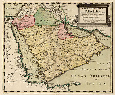 Antique Map Of Saudi Arabia And The Arabian Peninsula By Nicolas Sanson - 1654 Poster