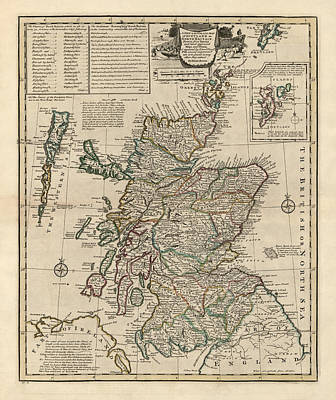 Antique Map Of Scotland By Emanuel Bowen - 1752 Poster by Blue Monocle