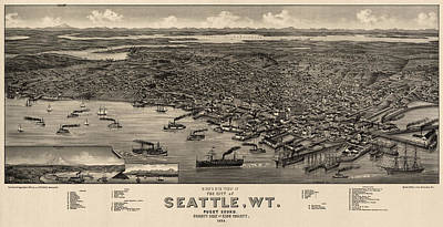 Antique Map Of Seattle Washington By H. Wellge - 1884 Poster