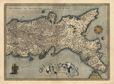 Antique Map Of Southern Italy By Abraham Ortelius - 1570 Poster by Blue Monocle