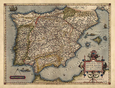 Antique Map Of Spain And Portugal By Abraham Ortelius - 1570 Poster by Blue Monocle