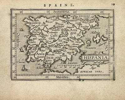 Antique Map Of Spain And Portugal By Abraham Ortelius - 1603 Poster by Blue Monocle