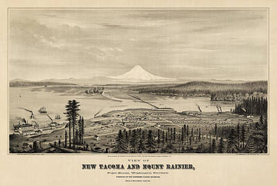 Antique Map Of Tacoma Washington By E.s. Glover - 1878 Poster by Blue Monocle