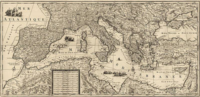 Antique Map Of The Mediterranean By Guillaume Sanson - Circa 1680 Poster