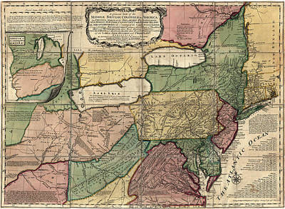 Antique Map Of The Middle American Colonies By Thomas Jefferys - 1758 Poster by Blue Monocle