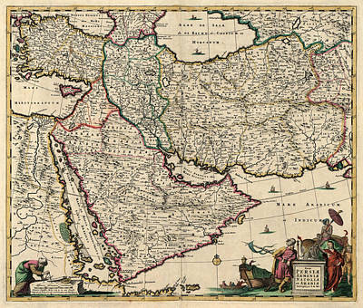 Antique Map Of The Middle East By Frederik De Wit - Circa 1666 Poster by Blue Monocle