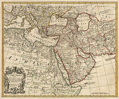 Antique Map Of The Middle East By Guillaume Delisle - 1721 Poster by Blue Monocle