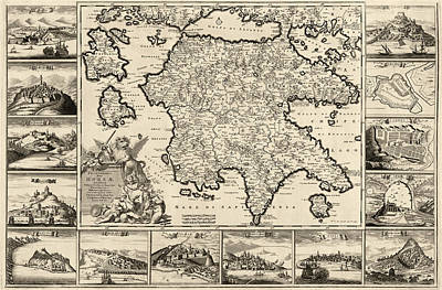 Antique Map Of The Peloponnesian Peninsula In Greece By Frederik De Wit - Circa 1688 Poster by Blue Monocle