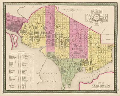 Antique Map Of Washington Dc By Samuel Augustus Mitchell - 1849 Poster by Blue Monocle