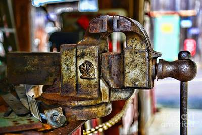 Antique Monarch Cast Iron Bench Vise  Poster