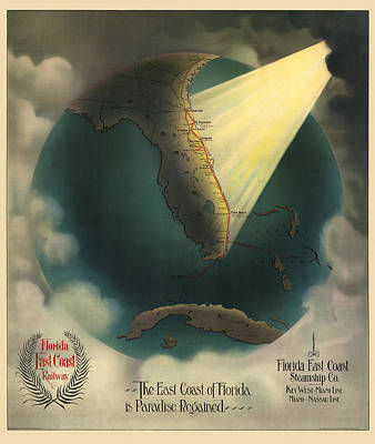 Antique Railroad Map Of Florida By J. P. Beckwith - 1898 Poster by Blue Monocle