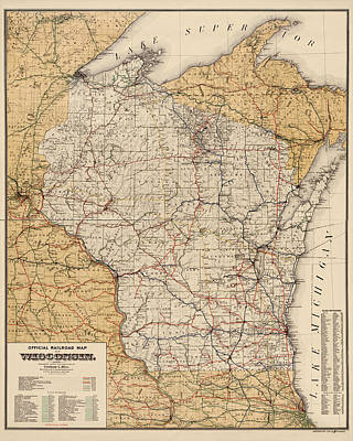 Antique Railroad Map Of Wisconsin - 1900 Poster