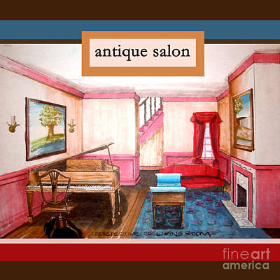 Antique Salon - Colonial Red And Blue Poster by Kristie Hubler