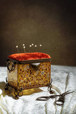 Antique Sewing Casket Poster by Amanda Elwell