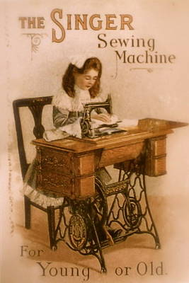 Antique Singer Sewing Machine Poster by Julie Butterworth