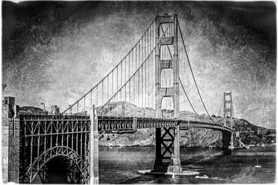 Antique Style Golden Gate Bridge In Black And White Poster
