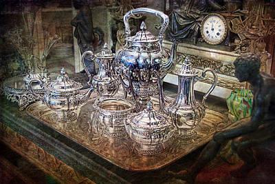 Antique Tiffany Sterling Silver Coffee Tea Set Poster by Gunter Nezhoda